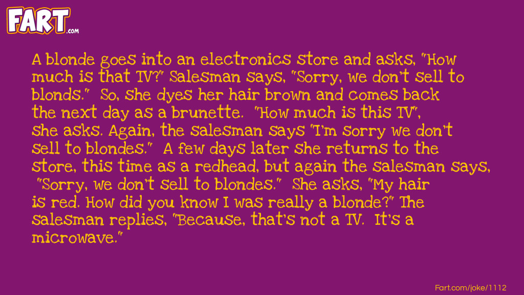 A blonde wants to buy a TV Joke Meme.