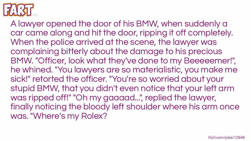 A lawyer and his BMW Joke Meme.