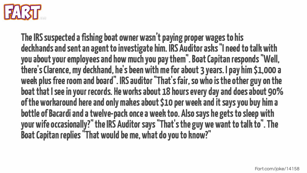 Boat Captain IRS Audit Joke Meme.