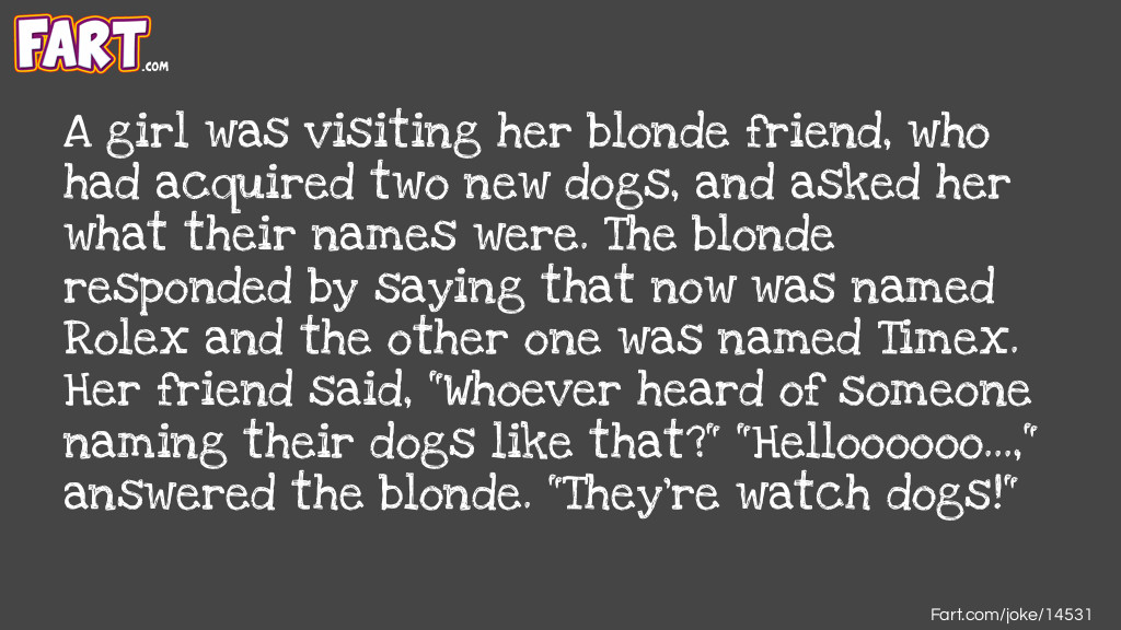 A Blondes Dogs Joke Meme.