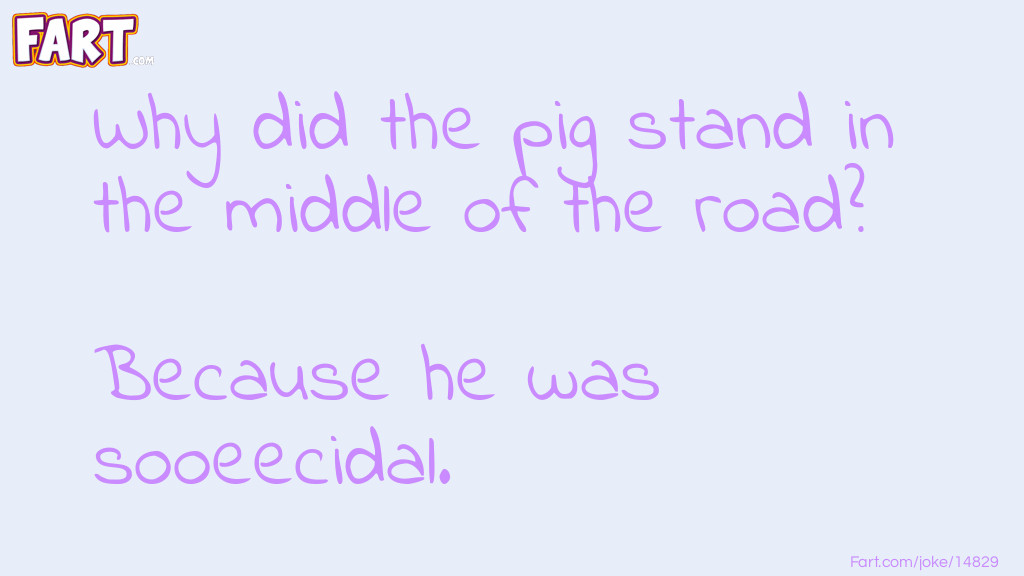 Pig in the road joke. Joke Meme.