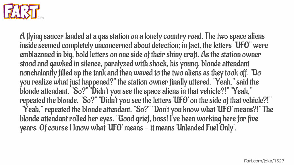 Gas Station-UFO Joke Meme.