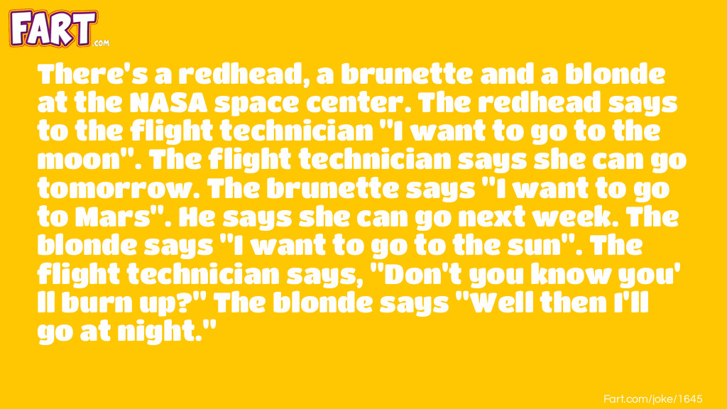 Blonde Space Travel Joke Meme.